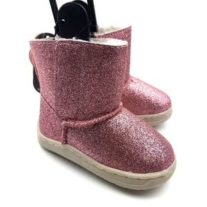 Size 3 baby boots girls pink glitter winter